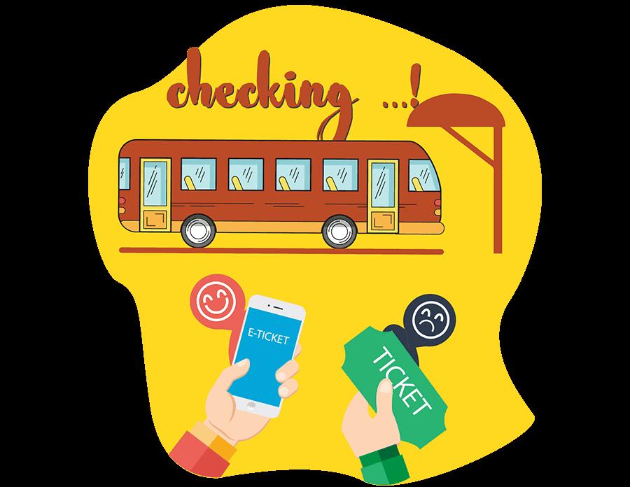 Bookmebus landing page eticket vector